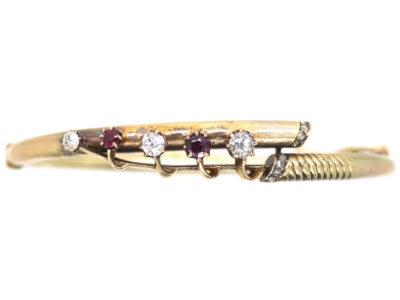 Edwardian 15ct Gold, Diamond & Ruby Lily of Valley Bangle