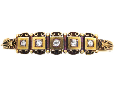 Victorian 15ct Gold & Diamond Bangle