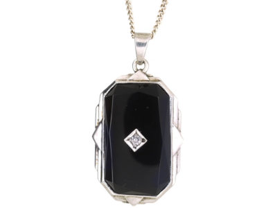 Art Deco Silver, Onyx & Diamond Pendant on Silver Chain