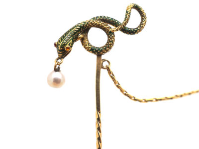 Georgian 18ct Gold & Green Enamel Snake Tie Pin with Natural Pearl Drop