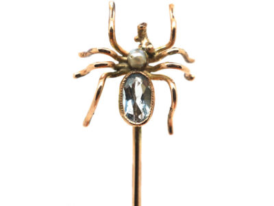 Edwardian Gold Spider Tie Pin set with an Aquamarine & Natural Pearl