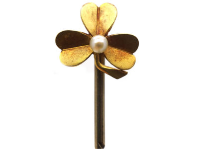 Edwardian 15ct Gold & Natural Pearl Three Leaf Clover Tie Pin
