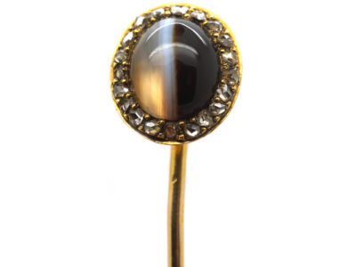 Victorian 15ct Gold Oval Tie Pin set with Onyx & Rose Diamonds