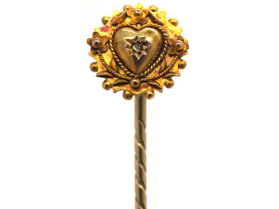 Victorian 15ct Gold Heart & Flowers Tie Pin set with a Rose Diamond