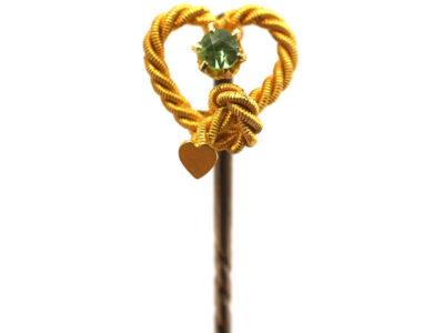 Edwardian 15ct Gold & Peridot Heart Shaped Tie Pin