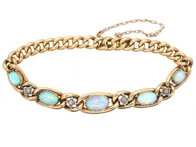 Edwardian 15ct Gold, Opal & Diamond Curb Bracelet