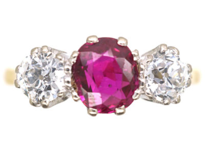 18ct Gold, Three Stone Diamond & Ruby Ring