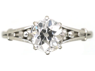 Art Deco Old Mine Cut Diamond Solitaire Ring