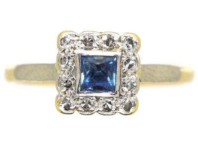 Art Deco 18ct Gold & Platinum Diamond & Sapphire Square Ring