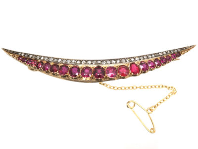Victorian 15ct Gold, Ruby & Diamond Crescent Brooch