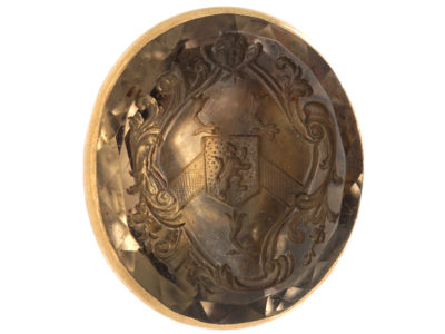 Early Georgian 18t Gold Seal with Citrine Base with Intaglio of a Crest