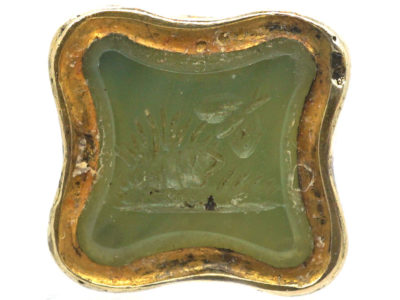Victorian Small Gold Seal with Green Chalcedony Base with Butterfly & Hedgehog