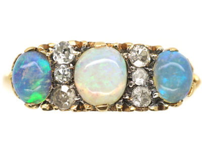 Victorian 18ct Gold, Three Stone Opal & Diamond Ring
