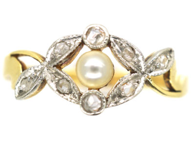 Art Nouveau 18ct Gold, Rose Diamond & Natural Pearl Ring