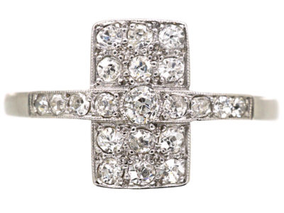 Art Deco 18ct White Gold & Platinum, Diamond Rectangular Ring