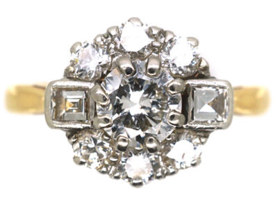 Art Deco 18ct Gold & Platinum Diamond Cluster Ring