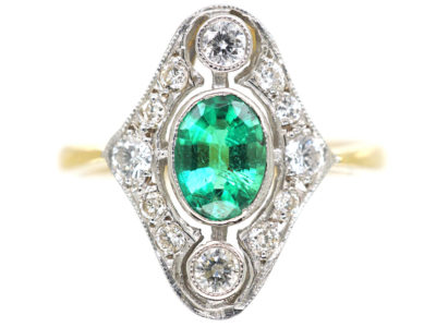 Art Deco 18ct Gold & Platinum, Emerald & Diamond Ring