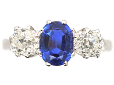 Art Deco 18ct Gold & Platinum, Sapphire & Diamond Three Stone Ring