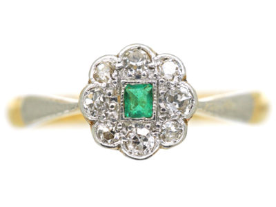 Edwardian 18ct & Platinum, Emerald & Diamond Cluster Ring