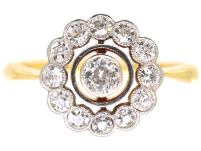 Art Deco 18ct Gold & Platinum, Diamond Cluster Ring