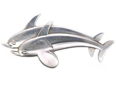 Georg Jensen Silver Dolphins Brooch Designed by Arno Malinowski
