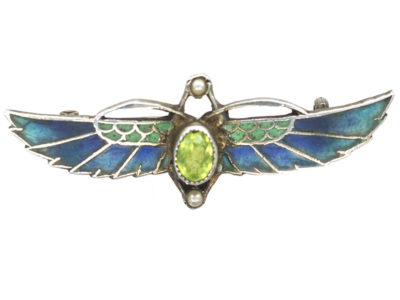 Egyptian Revival Silver & Plique a Jour Scarab Brooch