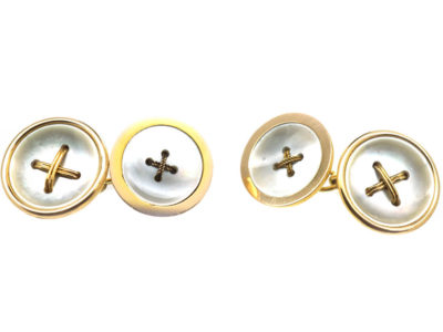 Edwardian 15ct Gold & Mother of Pearl Button Cufflinks