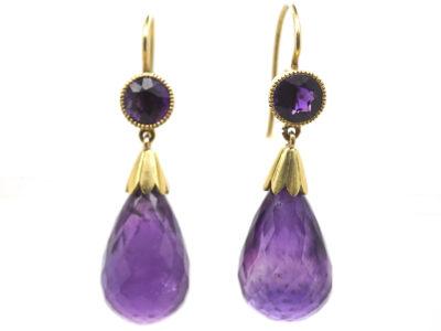 Edwardian 15ct Gold & Amethyst Pear Shaped Drop Earrings