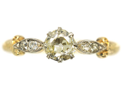 Edwardian 18ct Gold, Platinum & Diamond Solitaire Ring