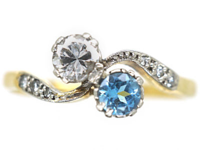 Edwardian 18ct Gold & Platinum, Aquamarine & Diamond Crossover Ring