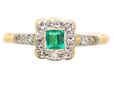 Edwardian 18ct Gold & Platinum, Emerald & Diamond Geometric Ring