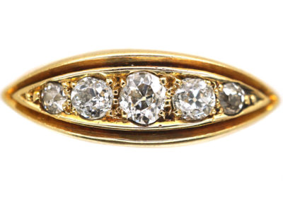 Victorian 18ct Gold Five Stone Diamond Boat Shaped Ring