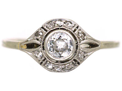 Art Deco 14ct White Gold Diamond Ring