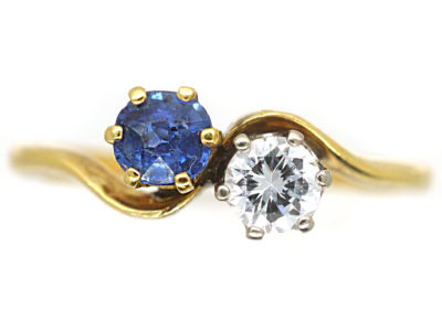 Edwardian 18ct Gold & Platinum, Diamond & Sapphire Crossover Ring