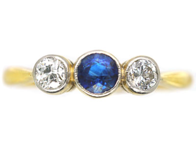 Art Deco 18ct Gold & Platinum, Three Stone Diamond & Sapphire Ring
