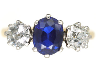 Art Deco 18ct Gold and Platinum, Sapphire & Diamond Three Stone Ring
