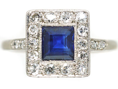 Art Deco 18ct Gold, Platinum Sapphire & Diamond Square Ring