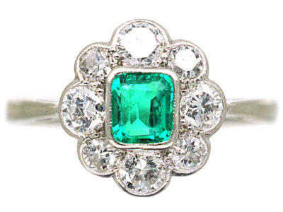 Art Deco Platinum & 18ct White Gold, Emerald & Diamond Cluster Ring