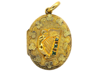 Victorian Irish Two Colour 15ct Gold Oval Locket with a Harp & Shamrocks