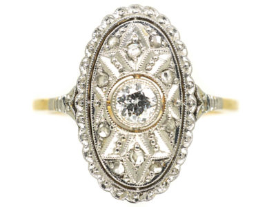 Art Deco 14ct Gold Oval Diamond Cluster Ring