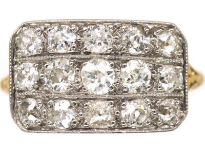 Edwardian 18ct Gold & Platinum Three  Row Diamond Ring