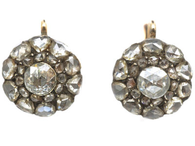 Victorian Rose Diamond Cluster Earrings
