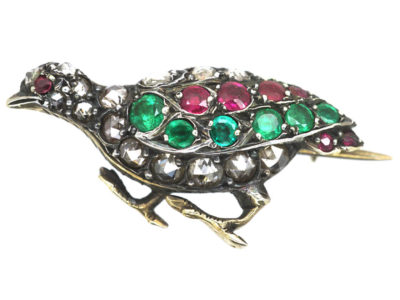 Victorian Brooch of a Grouse set with Rose Diamonds, Rubies & Emeralds