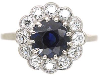 Edwardian Platinum, Sapphire & Diamond Cluster Ring