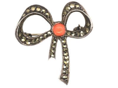 Art Deco Silver, Coral & Marcasite Bow Brooch