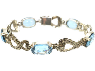 Art Deco Silver, Marcasite & Synthetic Blue Spinel Bracelet