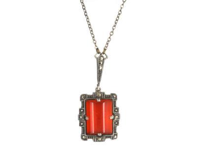 Art Deco Silver, Carnelian & Marcasite Necklace