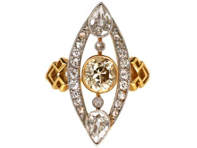 Art Deco Diamond Marquise Ring set with a Central Cinnamon Diamond