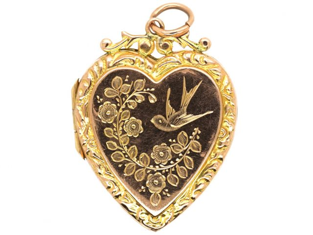 Edwardian Heart Shaped 9ct Gold Locket With Swallow & Flowers Motif