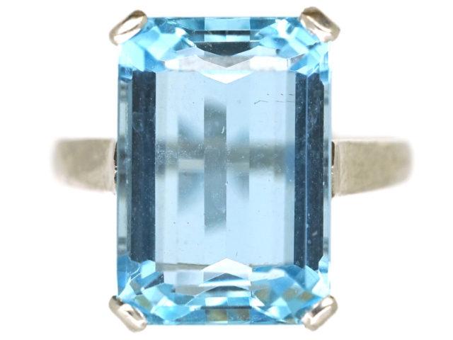 Art Deco Platinum & Rectangular Aquamarine Ring